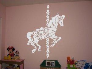 Large Merry Go Round Carousel Horse Vinyl Wall Sticker