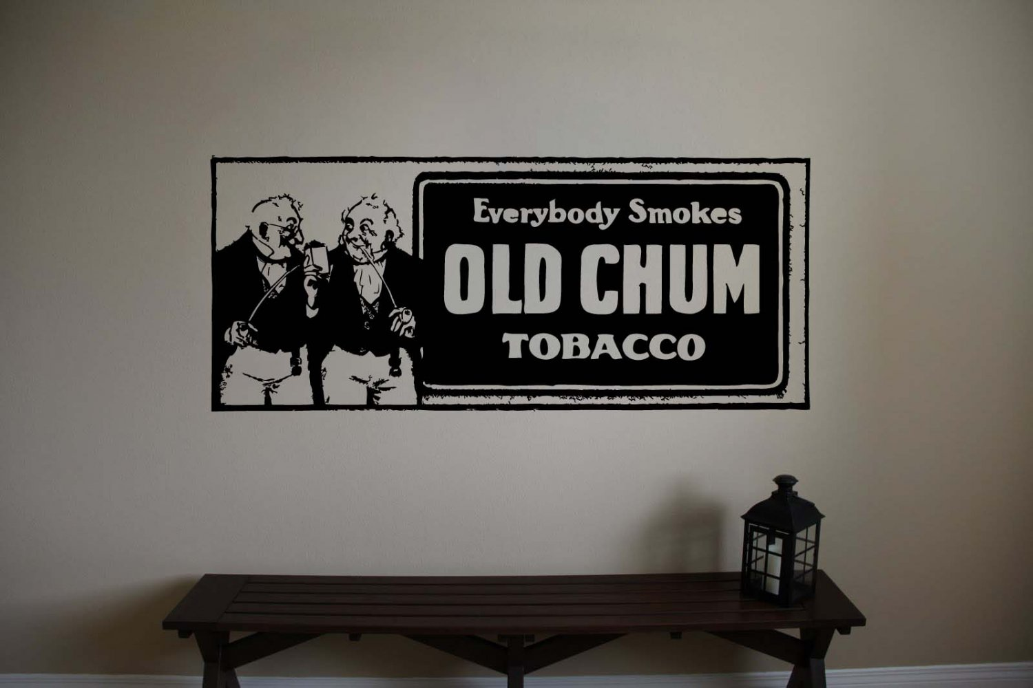 Vintage Pipe Tobacco Ad Old Chum Vinyl Wall Sticker Decal