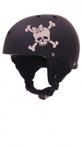 Roller Derby Skull with Bow Helmet Vinyl Sticker Decal