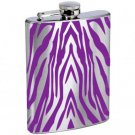 Tiger Stripe Design Style 2 Stainless Steel Alcohol Liquor Flask 6 oz 8 oz.
