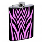 Tiger Stripe Design Style Stainless Steel Alcohol Liquor Flask 6 oz 8 oz.