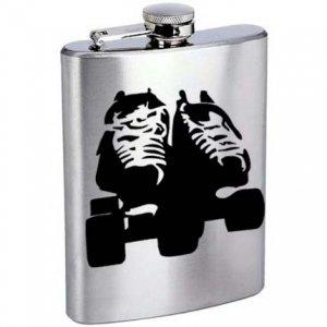 Roller Derby Skates Stainless Steel Alcohol Liquor Flask 6 oz or 8 oz.
