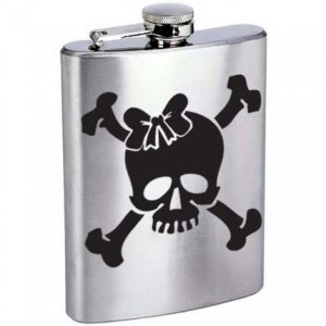 Roller Derby Skull with Bow Stainless Steel Alcohol Liquor Flask 6 oz. or 8 oz.
