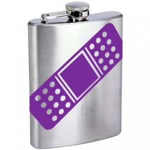 Roller Derby Band Aid Stainless Steel Alcohol Liquor Flask 6 oz. or 8 oz.
