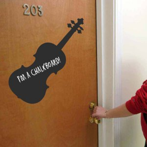 Large Violin Chalkboard Vinyl Wall Sticker Decal