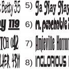 Roller Derby Name and Number Helmet Designs Vinyl Decal (2 stickers)