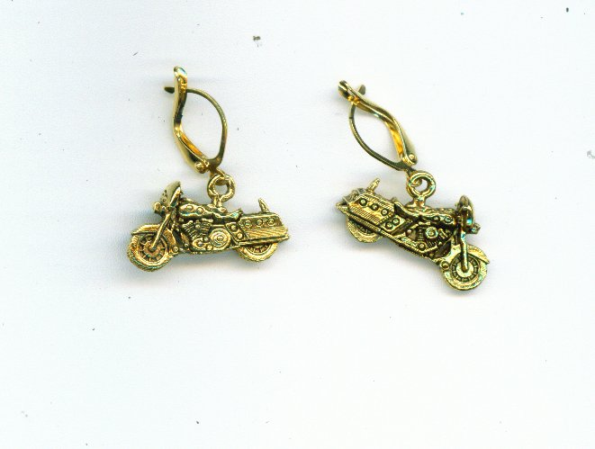 Gold Motorcycle Earrings