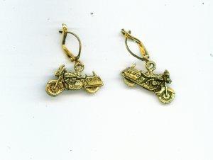 Gold Motorcycle Earrings
