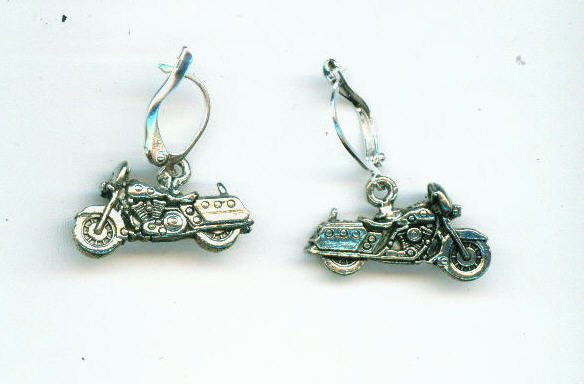 Silver Motorcycle Earring
