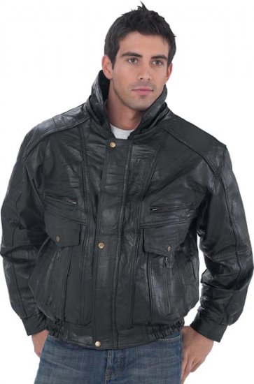 XXXL Men's Giovanni Navarre Leather Jacket w/Hood and Lining