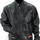 L Diamond Plate Buffalo Leather Motorcycle Jacket
