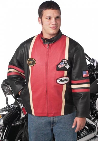L Men's Leather Racing Jacket