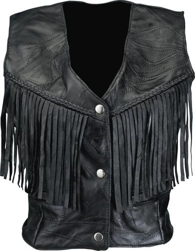 LG Ladies Leather Fringed Vest