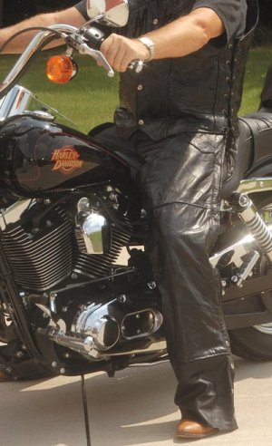 XL Men's Leather Motorcycle Chaps