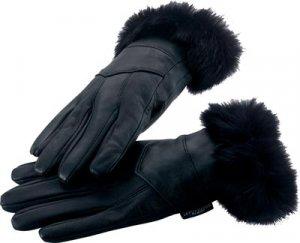 LG Leather Gloves w/Rabbit Fur Trim