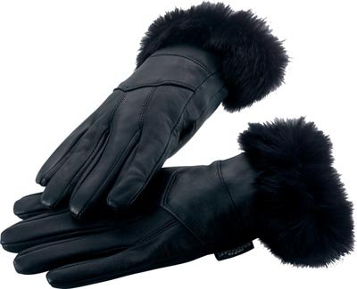 M Leather Gloves w/Rabbit Fur Trim