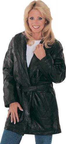M Ladies 3/4 Length Leather Coat