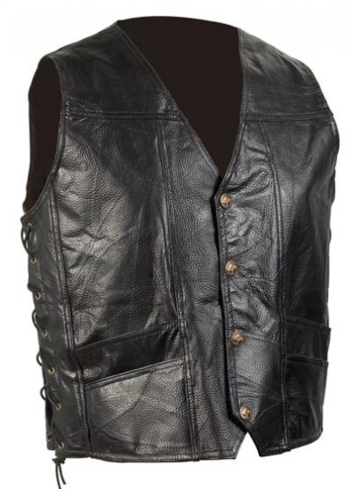 XXL Men's Cowhide Leather Biker Vest