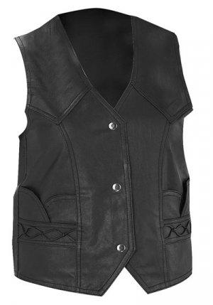 M Ladies Solid Leather Vest