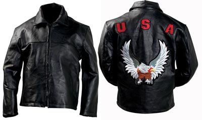 XXL Patch Cowhide Leather Jacket