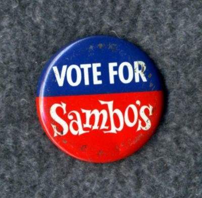 Vintage VOTE FOR Sambo's Restaurant Promotional Button FREE SHIPPING