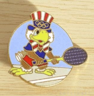 OLYMPICS Pin 1984 Los Angeles EAGLE TENNIS Rare FREE SHIPPING
