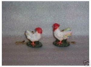 Country Rooster and Hen ceiling fan pulls Full 3-D design (2)