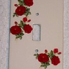 RED ROSES CERAMIC SINGLE SWITCHPLATE NEW SHABBY