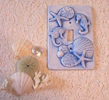 SEAHORSE, SEASHELLS, CORAL single switchplate cover
