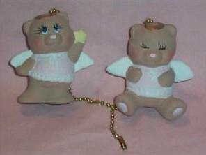 ANGEL BEARS ceiling fan pulls set (2) teddybear angels