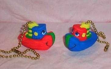 LITTLE BOATS ceiling fan pulls set (2) primary colors NEW