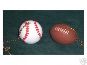 FOOTBALL AND BASEBALL ceiling fan pulls New in the package Full 3-D