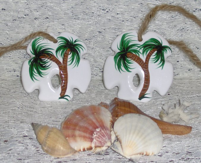 SAND DOLLAR PALM TREE ORNAMENT SET (2) Ceramic NEW