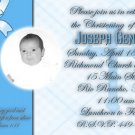 Blue Plaids/Any Color Photo Baptism and Christening Invitations 5 x 8