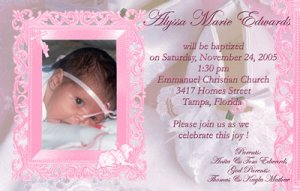 Elegant Frame in Pink Photo Baptism and Christening Invitations 5 x 8