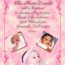 Classy 3 Photos Pink Photo Baptism and Christening Invitations 5 x 8