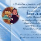 Elegant in Blue Photo Baptism and Christening Invitations 5 x 8