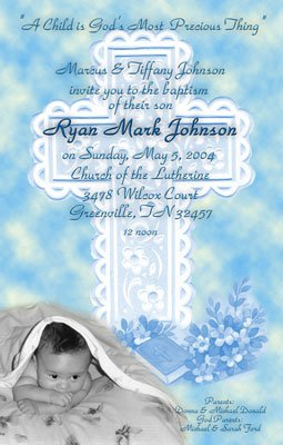 Elegant Cross in Blue Photo Baptism and Christening Invitations 5 x 8