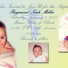 Yellow Blue Multi-Pics Photo Baptism and Christening Invitations 5x8