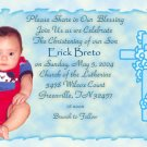 Trendy Blue Edges Photo Baptism and Christening Invitations 5 x 8
