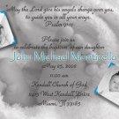 Baby Feet 2 Photos Blue Photo Baptism and Christening Invitations 5x8