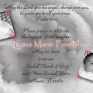Baby Feet 2 Photos Pink Photo Baptism and Christening Invitations 5x8