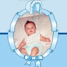 Bonnet Frame in Blue Photo Baptism and Christening Invitations 5 x 8