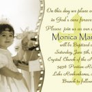 Photo Baptism and Christening Invitations 5 x 8 One Main Photo Sepia
