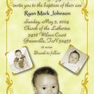 Classy 3 Photos Vintag Photo Baptism and Christening Invitations 5x8