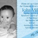 Swirly Blue Background Photo Baptism and Christening Invitations 5x8