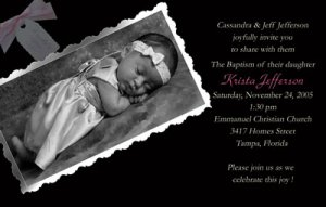 Black and White Girl Photo Baptism and Christening Invitations 5 x 8