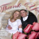 Wedding Photo Thank You Card Roses and Satin Sheets in Color