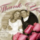 Roses and Satin Sheets Vintage Color Wedding Photo Thank You Card