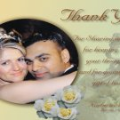 Bride and Groon Ornament and Flowers Wedding Photo Thank You Card